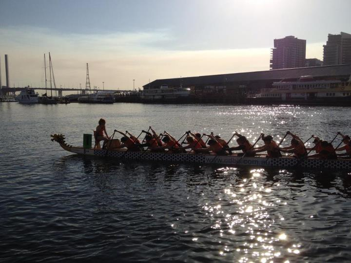 dragon boat team at Docklands